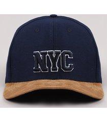 """boné masculino aba curva com suede e bordado """"nyc"""" azul marinho"""