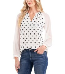cece floral-embroidered split-neck blouse