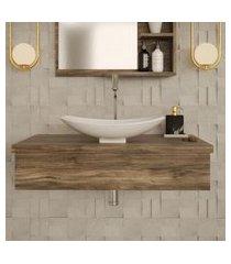 conjunto para banheiro bancada com cuba l45 canoa city 800 carvalho dark
