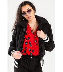 ava striped teddy jacket - black