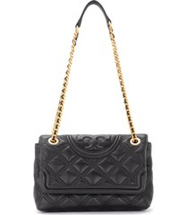 tory burch fleming shoulder bag in black quilted leather