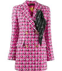 pink scarf detail blazer