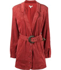 for love and lemons belted corduroy coat - red