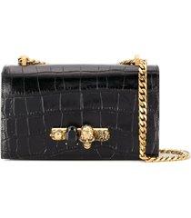 alexander mcqueen ring embellished crossbody bag - black
