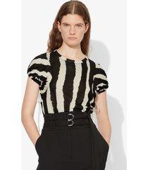 proenza schouler zebra stripe print tied short sleeve t-shirt black/ecru zebra stripe s