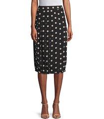 polka dot silk knee-length skirt