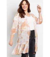 maurices plus size womens pink tie dye tie waist kimono white