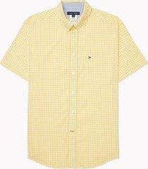 tommy hilfiger men's adaptive regular fit check short sleeve shirt aspen gold - l