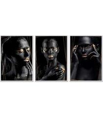 kit 3 quadro  oppen house coleã§ã£o noir goridhe moldura branca decoraã§ã£o - multicolorido - dafiti