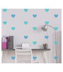 adesivo de parede infantil quartinhos coraçáo azul