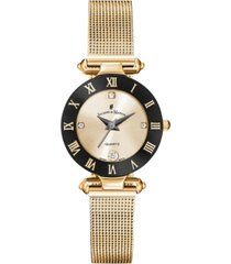 jacques du manoir ladies' rose gold stainless steel mesh with goldtone case black bezel and goldtone dial, 26mm