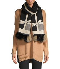 la fiorentina women's printed dyed fox fur-trim shawl - black