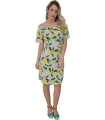 vestido mamorena estampa fruta ombro elástico bege