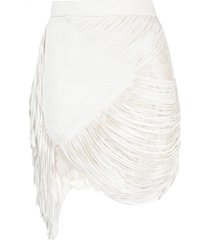 faith connexion fringed braided skirt - white