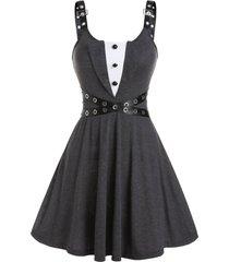 criss cross holes strap a line dress