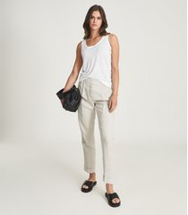 reiss aria - linen jersey vest top in white, womens, size xl
