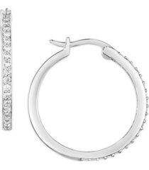 cubic zirconia hoop earrings in fine silver plate