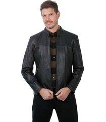 jaqueta de couro javali 127 preta - kanui