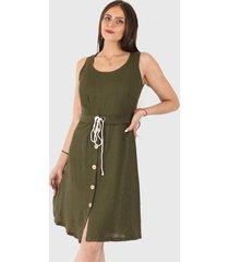 vestido soledad casual verde truhana