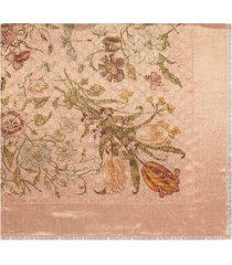gucci gg wool and lurex shawl with flora print - pink