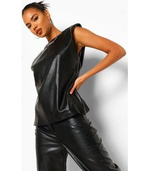 faux leather t-shirt met schouderpads, black