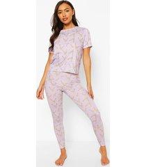 pyjama met leggings met print van huisfeestje, lila