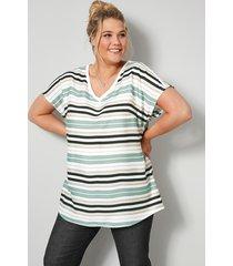 blouse janet & joyce wit::zwart::jadegroen::beige