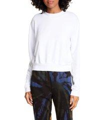 cotton citizen milan tie dye crop sweatshirt, size medium in white at nordstrom
