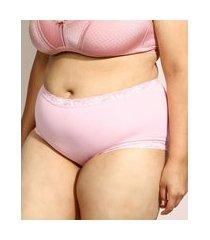 calcinha de algodão demillus caleçon clássica secret cintura alta com renda rosa