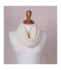 baby alpaca blend neck warmer, 'alabaster intrigue' (peru)