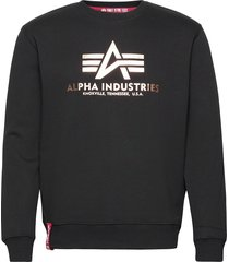 basic sweater foil print sweat-shirt tröja svart alpha industries
