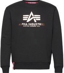 basic sweater foil print sweat-shirt tröja svart alpha industries