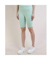 bermuda feminina mindset ciclista cintura super alta verde claro