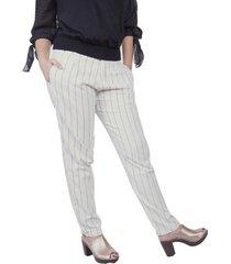 pantalón lino rayas blanco vamos 89765