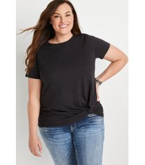 maurices plus size womens 24/7 dark gray front knot short sleeve top