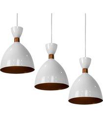 kit 3 lustre pendente califã³rnia de alumãnio branco c/ cobre - branco - dafiti
