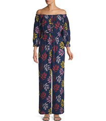 carolina k women's alexa cotton crepe jumpsuit - navy folia - size xs