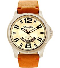 wrangler men's watch, 48mm silver colored dial, brown zoned dial with white markers and crescent cutout, date function, tan strap with red accent stitch analog, red second hand