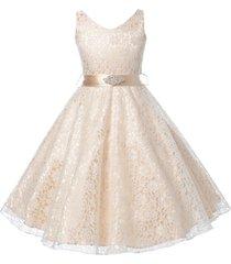 champagne sleeveless lace v-neck flower girl prom birthday wedding formal dress