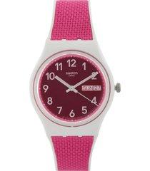 reloj fucsia-blanco swatch
