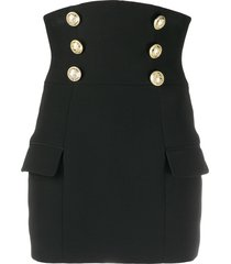 balmain high waist buttoned crepe skirt - black