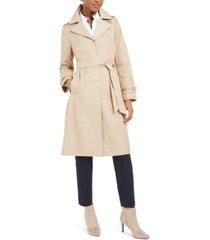 anne klein belted hooded water-resistant raincoat