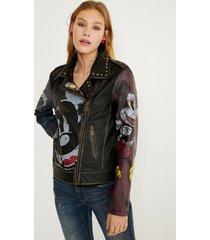slim biker jacket mickey mouse - black - 46