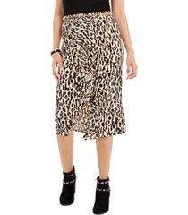 thalia sodi leopard-print ruffle-trim skirt, created for macy's