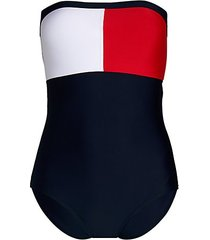 bandeau tommy flag one-piece swimsuit