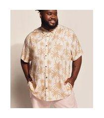 camisa masculina plus size birden coqueiros manga curta bege claro