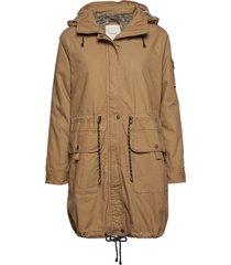 coats woven parka lange jas jas beige esprit casual