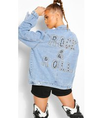 studded rock and roll jean jacket, blue