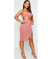 bandage skirt and crop top co-ord set, soft pink