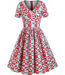geometric print v neck retro a line dress
